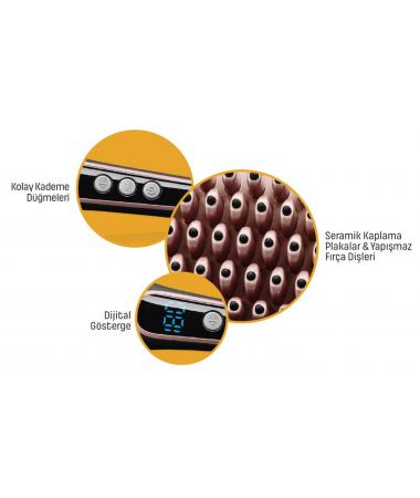 PA-6648 ProBrush Saç Şekillendirici/Düzleştirici Tarak (  Elektriklenmeyi Önleyici Turmalin İyon Teknolojisi! & Seramik Kaplama Plakalar ile Koruma/Parlaklık Bir Arada!  )