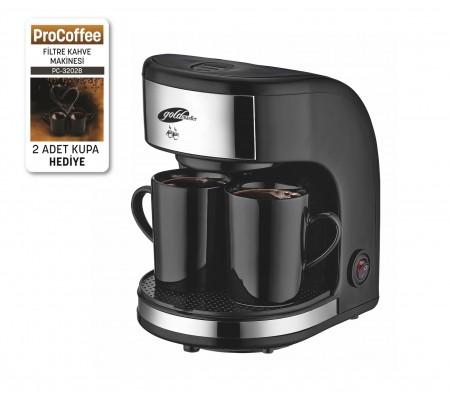 PC-3202 ProCoffee ( Yeni Seri, Yeni Teknoloji, Geliştirilmiş Model ve 2'li Seramik Kupa Hediye! ProCoffee İle Taze ve  Sıcacık Filtre Kahveniz Daima Yanınızda! )