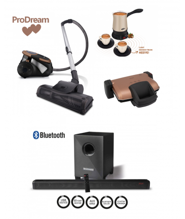 ProDream PLUS Çeyiz Seti ( ProCyclone, Hoş Sohbet, ProToaster ve Bluetooth Woofer Soundbar-  Trend Renkleri İçeren Çizgileri ve Özel Seçkileri ile En Şık Çeyiz Setleri! )