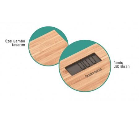 PN-3211 ProNatural Dijital Bambu Banyo Baskülü ( Geniş Ekran, Ultra Hassas, Bambu Tasarım & 1 Adet Lityum Pil Hediye )