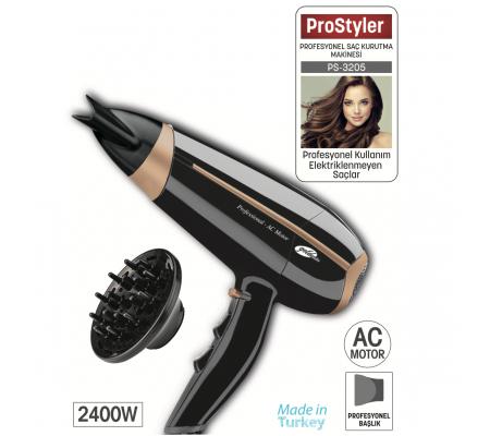PS-3205 ProStyler Profesyonel Saç Kurutma Makinesi ( 2400W Gücü ile Kuaförden Çıkmış Gibi Hissetmeniz İçin Yüksek Performans )