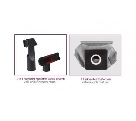 PW-3204 ProWash Elektrikli Süpürge ( 4 Litre Yıkanabilir Toz Torbası - Hepa Çıkış Filtresi Sağlıklı Kullanım! )