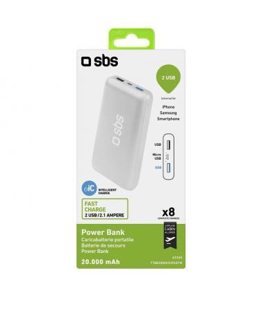 ( SON 390 ADET ) SBS 20.000 mAH Powerbank (  İtalyan SBS Kalitesi Sizlerle! - Çift USB ile aynı anda iki Cihaz Şarj Edebilme - Tüm Akıllı Telefon ve Tabletler ile Uyumlu )
