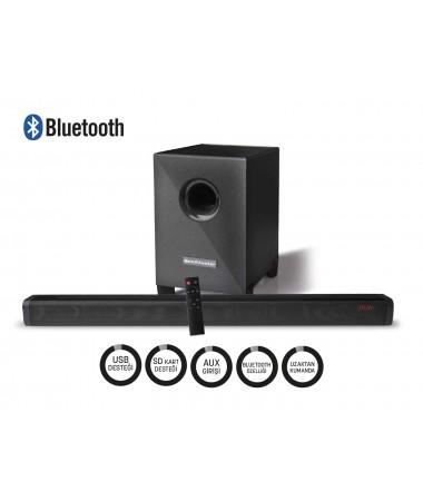 Bluetooth Woofer Sound Bar  - Optik Giriş Özelliği ile Yüksek Kalite Dijital Ses İletimi! ( SubWoofer, Bluetooth Hoparlör /Mikrofon Girişi / SD Kart Girişi / TV ve Tablet/Telefon Bağlantısı!  )