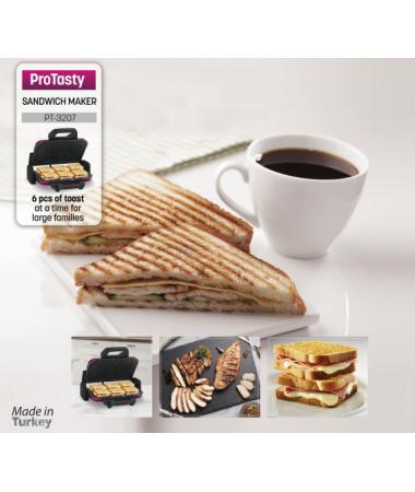 PT-3207 ProTasty ( ProTasty İle En Lezzetli Tostlar Sofralarda! 6 Adet Tost Ekmeği Kapasitesi ve Izgara Özelliği! )