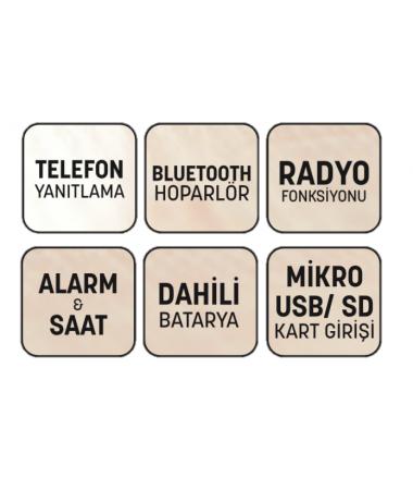 SON 100 Adet  -  Home Time Mini Bluetooth Hoparlör ve Dijital Saat - Yeni Seri / Yeni Teknoloji! Müzik Dinleyebilme, Telefon ile Konuşabilme - 6 Fonksiyon Bir Arada! ( Beyaz )