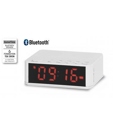 ( TÜKENDİ ) SON 40 ADET - Home Time Mini Bluetooth Hoparlör ve Dijital Saat - Müzik Dinleyebilme, Telefon ile Konuşabilme - 6 Fonksiyon Bir Arada! ( Beyaz )