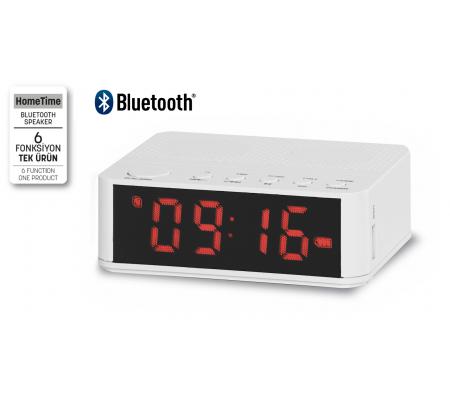 ( TÜKENDİ ) Home Time Mini Bluetooth Hoparlör ve Dijital Saat - Yeni Seri / Yeni Teknoloji! Müzik Dinleyebilme, Telefon ile Konuşabilme - 6 Fonksiyon Bir Arada! ( Beyaz )