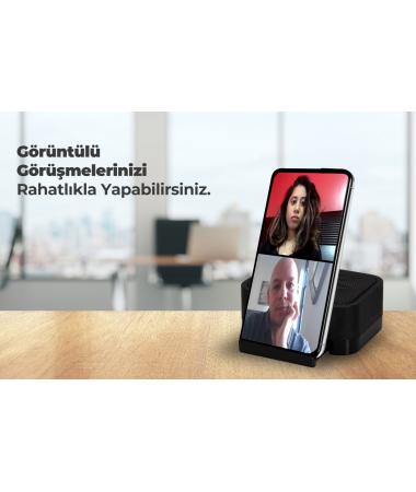 Zoom Hoparlörlü Toplantı Standı  ( Pembe  - Tüm Telefonlar ile Uyumlu & 360 dereceye dağılan mükemmel ses etkisi )